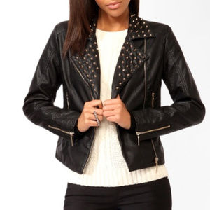 Forever 21 gold studded black faux leather jacket